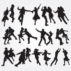 Silhouettes of skaters on a white background. Set of icons. EPS