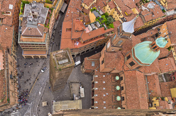 Aerial cityscape view from two towers, city of Bologna