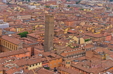 Cityscape view from two towers, city of Bologna