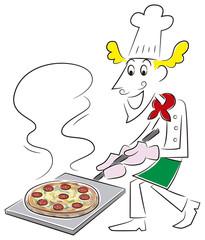 ピザを作るシェフ