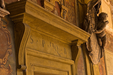 SPQB detail on old library building, city of Bologna