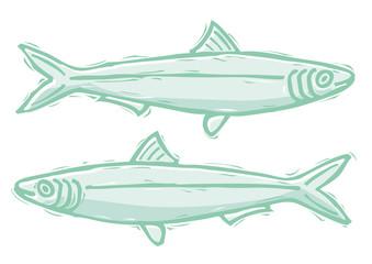Sardine in stile xilografia