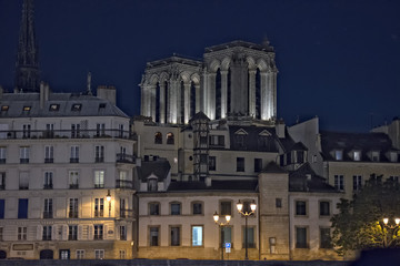 Notre dame de paris from seine night view