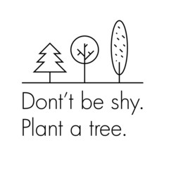 Plant a tree - eco headline with simple illustration