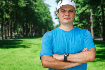 Fitness instructor outdoor portrait.