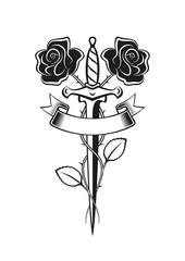 Tattoo Rosa pugnale