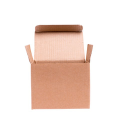 opened cardboard box on a white background