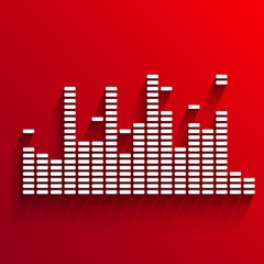 White digital equalizer background on red - vector illustration
