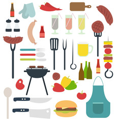 Barbecue things vector flat set