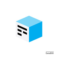 Data stored in box - flat 3d like icon