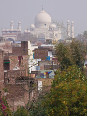 The Taj Mahal seen from an Agra backstreet