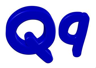 mavi renkli Q harfi