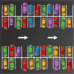voitures multicolores garées sur un parking