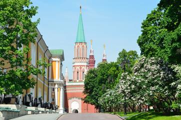 Фрагмент здания Арсенала и одна из башен Московского кремля