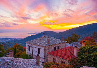 sunset view from Agios Lavrendios village Pilion Greece