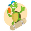 Turtle drinks juice and ride on skateboard - 65268629