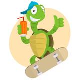 Turtle drinks juice and ride on skateboard