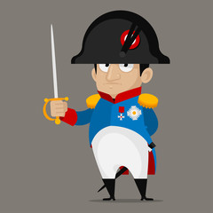 Napoleon Bonaparte cartoon character holds sword