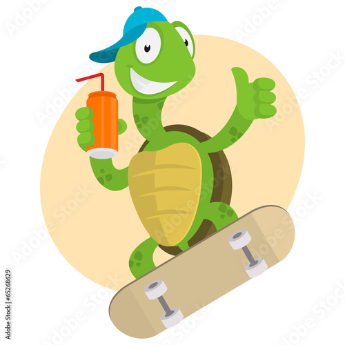 Turtle drinks juice and ride on skateboard