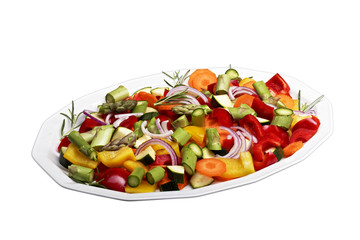isolated sliced vegetables for a vegetable pan