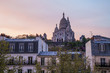 Paris, France. View Momartr hill and Sacre Coeur at sunset