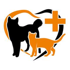 vector pets on a orange heart