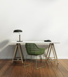 Elegant vintage home office interior with green chair