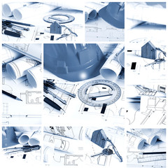 Blueprints, construction collage