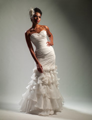African-American woman in a wedding dress