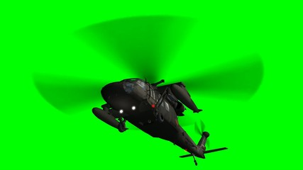 Military Helicopter Uh-60 Black Hawk - green screen