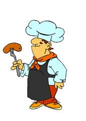 cuoco cucina una salsiccia