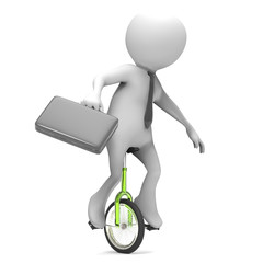 3d man riding a unicycle