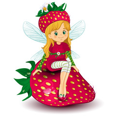 Fairy strawberry sitting