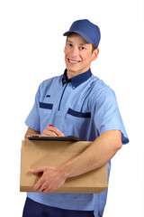 Handsome young delivery man, isolated on white background.