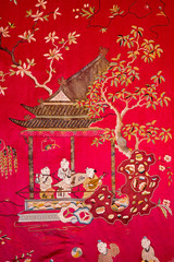 Detail from chinese tapestry in Palace Saint Anton