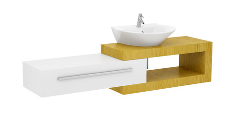 modern bathroom sink isolated on white background