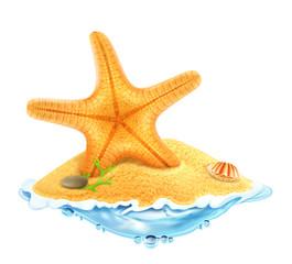 Starfish in the sand, vector illustration