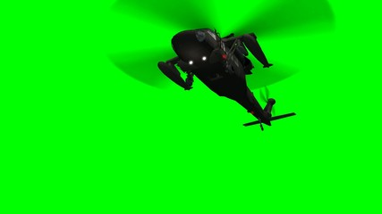 Military Helicopter Uh-60 Black Hawk fly over - green screen