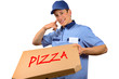 Pizza delivery man making a phone gesture