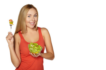 Woman diet concept portrait. Female hold salad.
