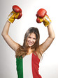 Success woman celebrating for her succes with the flag of Italy