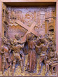 Antwerp - Jesus under cross. Carved relief in Paulskerk