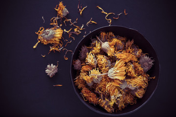Dried Marigold Flowers in Bowl