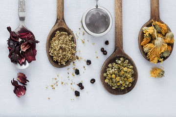 Dried Tea in Spoon