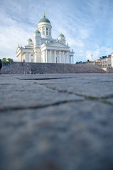 Helsinki cathedral with people sitting on stairs, copyspace