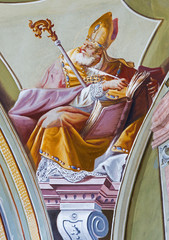 Fresco of saint Ambrosius in Saint Anton palace - Slovakia