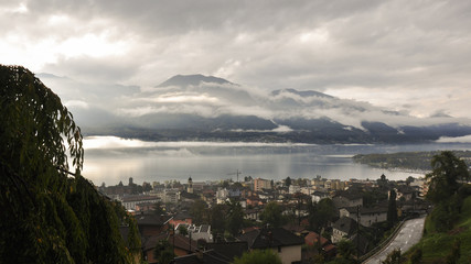 Minusio, Dorf, Lago Maggiore, Seeufer, Herbst, Tessin, Schweiz