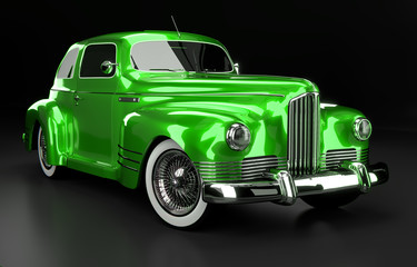 Studioaufnahme Oldtimer grün, 3D Render