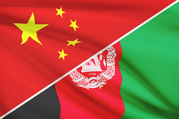 Series of ruffled flags. China and Republic of Afghanistan.