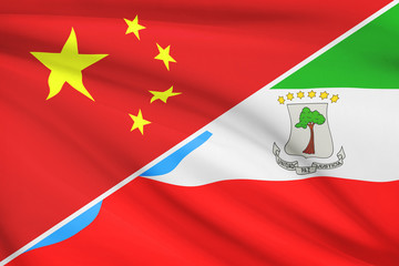 Series of ruffled flags. China and Equatorial Guinea.